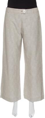 Matthew Williamson Beige Embellished Patch Detail Wide Leg Pants M