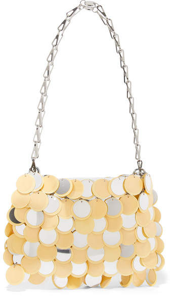 Paco Rabanne Sparkle 1969 Sequined Faux Leather Shoulder Bag - Yellow