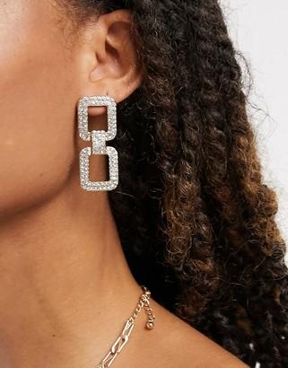 Pieces square drop earrings in silver rhinestones