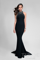 Terani Prom - Crystal and Pearl Halter Fit and Flare Prom Gown 1712P2534