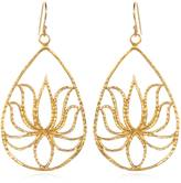 Satya Jewelry Teardrop Gold Lotus Earrings