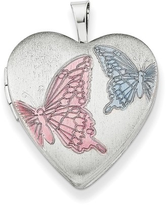 Curata 925 Sterling Silver Rhodium-plated Enameled Butterfly Design Heart Locket Pendant Necklace
