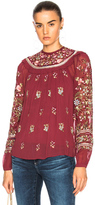 Needle & Thread Victorian Folk Top in Floral,Red.