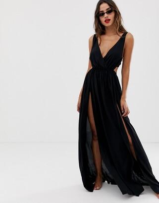 Asos Design DESIGN tie back cross front split maxi beach dress in black