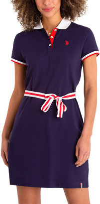 U.S. Polo Assn. Women's Casual Dresses EVENING - Evening Blue Belted Polo Dress - Women
