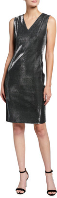 Akris Punto Sleeveless V-Neck Metallic Cocktail Dress