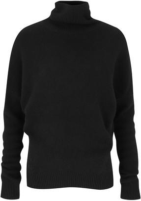 Amanda Wakeley Black Cashmere Polo Neck Top