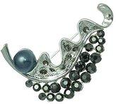 AJ Fashion Jewellery Cyrene Silver tone Hematite Grey faux Pearl Crystal Brooch