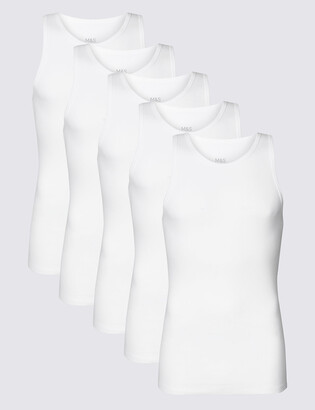 Marks and Spencer 5 Pack Pure Cotton Sleeveless Vests