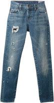 Levi's shredded trim cropped jeans - women - Cotton - 25