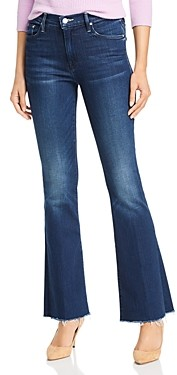 Mother The Weekender Fray Flared Jeans in Tongue and Chic