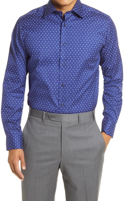 David Donahue Trim Fit Paisley Dress Shirt