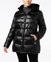 Calvin Klein Plus Size Hooded Packable Puffer Coat, Only at Macy's
