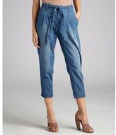 Kasil + TAYLOR medium blue stretch denim pleated tie waist cropped pants