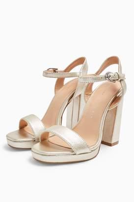 Topshop Womens **Wide Fit Sabine Silver Platform Heels - Silver