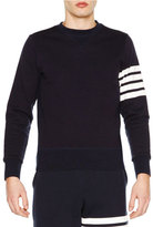 Thom Browne Crewneck Four-Stripe Sweatshirt, Navy