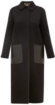 Fendi Reversible Ff Print Wool Blend Coat - Womens - Black Multi