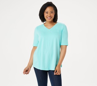 Denim & Co. Essentials Elbow Sleeve Top with Seaming Detail