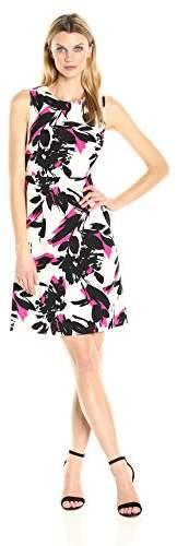 Kasper Women's Brushed Flower Printed Crepe Dress