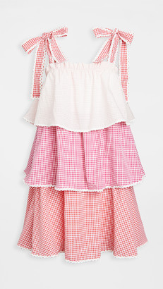 ENGLISH FACTORY Colorblock Tiered Dress