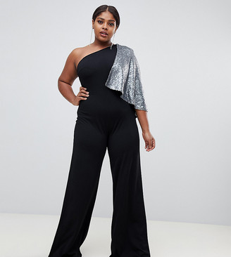 Club L London Plus Club L plus one shoulder jumpsuit with sequin cape sleeve