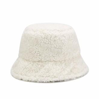 DFLYHLH Faux Fur Winter Panama Hats Women Outdoor Sunscreen Bucket Hat Letter Embroidery Basin Cap Sun Caps White Double Side(55-59cm)