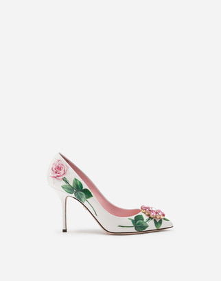 Dolce & Gabbana Polished Calfskin Tropical Rose Print Pumps With Brooch