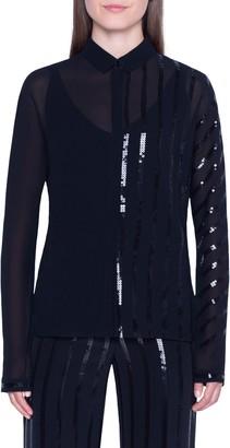 Akris Sequin Stripe Silk Blend Georgette Blouse
