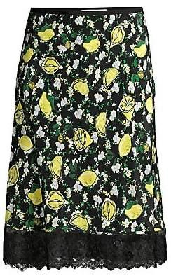 Diane von Furstenberg Women's Chrissy Floral Silk Knee-Length Skirt