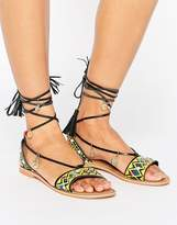 Glamorous Charm Tie Up Leather Flat Sandals