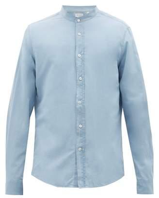 Brunello Cucinelli Band-collar Cotton-poplin Shirt - Mens - Blue
