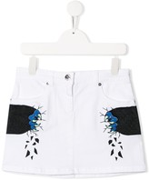 Graphic Print Logo Patch Skirt