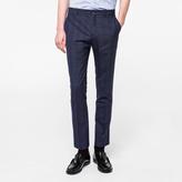 Paul Smith Men's Slim-Fit Navy Tonal-Check Merino-Wool Trousers