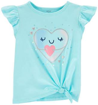 Carter's Girls Crew Neck Short Sleeve Graphic T-Shirt-Toddler