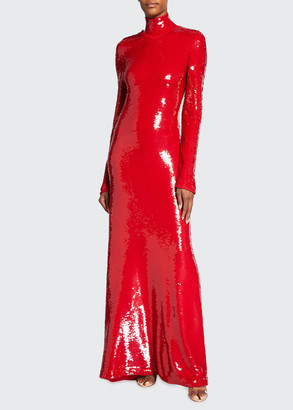 Bottega Veneta Long Turtleneck Sequin Cocktail Dress