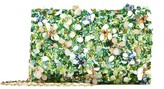 Oscar de la Renta Multi Embroidered Satin DeDe Bag with Swarovski Crystals