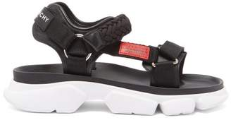Givenchy Jaw Contrast Panel Leather Sandals - Mens - Black