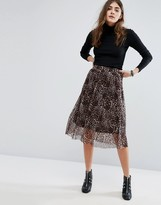 B.young Leopard Print Pleated Midi Skirt