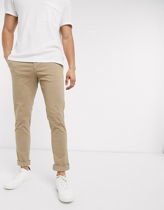 Selected skinny fit stretch chinos in sand-Beige