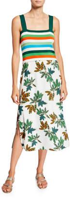 Akris Punto Striped Top & Tropical Leaf-Print Midi Dress