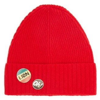Bella Freud Pin-embellished Wool Beanie Hat - Red