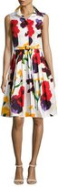 Samantha Sung Claire Sleeveless Splatter-Print Shirtdress, White/Red