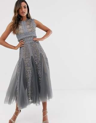 Bronx And Banco & Banco megan grey lace embroidered midi dress