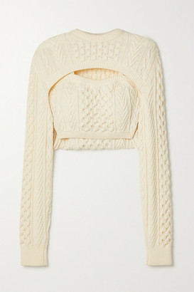 Rosie Assoulin Thousand In One Ways Convertible Cropped Cable-knit Wool And Cotton-blend Sweater - Ivory