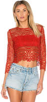 Lovers + Friends Night Bloom Top in Red. - size L (also in M,S,XS)