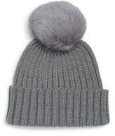 Adrienne Landau Rib-Knit Rabbit Fur Pom-Pom Hat