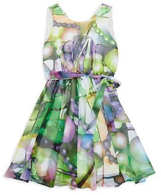 Helena And Harry Little Girl's Girl's Modern Art Belted A-Line Dress