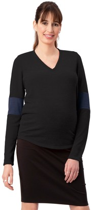 Stowaway Collection Maternity Elbow Cuff Maternity Sweater