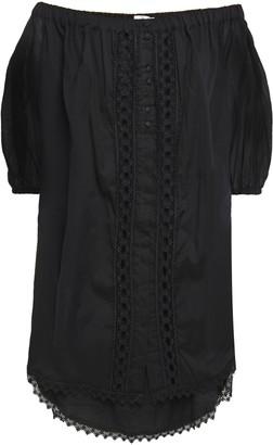Charo Ruiz Ibiza Off-the-shoulder Crocheted Lace-trimmed Cotton-blend Gauze Mini Dress