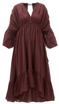 Loup Charmant Sunrise Open-back Organic-cotton Dress - Dark Purple